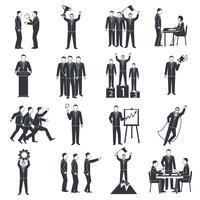 Conjunto de ícones de preto branco de liderança