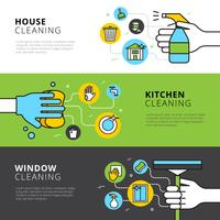Banners de cozinha de casa e limpeza de janela vetor