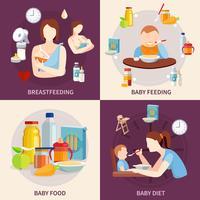 Bebê alimentando 4 ícones quadrados plana