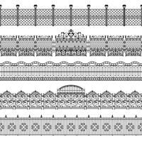 Conjunto de padrão de fronteira de cercas vetor
