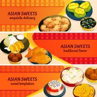 Conjunto de Banners horizontais de doces asiáticos vetor