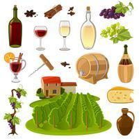 Conjunto de ícones de desenhos animados de vinho vetor