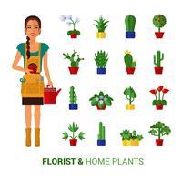 Florista e casa plantas ícones plana vetor