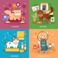 Conjunto de conceito de gatos vetor