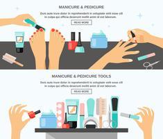 Manicure Pedicure Acessórios 2 Banners Planas vetor
