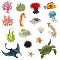 Conjunto de ícones de desenhos animados de vida marinha