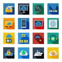 Ícones de serviço de nuvem em quadrados coloridos
