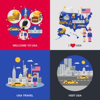EUA cultura 4 ícones quadrados plana