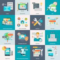 Ícones de conceito de desenvolvimento de site vetor