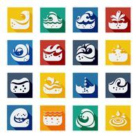 Conjunto de ícones de cor de onda de redemoinho vetor