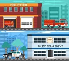Conjunto de Banners plana de veículos de departamentos de emergência vetor