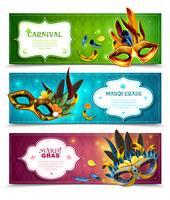 Conjunto de Banners de Baile de Máscaras vetor