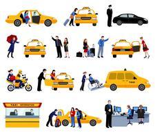 Conjunto de ícones de serviço de táxi vetor