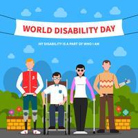 Pessoas com deficiência apoiar cartaz plano vetor