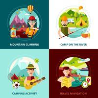 Banner de conceito de Design de acampamento