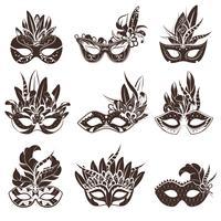 Conjunto de ícones de preto branco de máscara