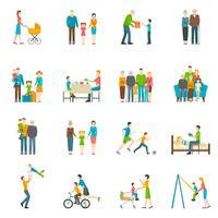 Família feliz plana ícones