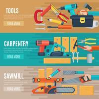 Banners horizontais de carpintaria com kit de ferramentas