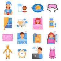 Conjunto de ícones plana de sono saudável