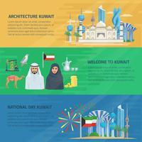 Conjunto Horizontal de Bandeira do Kuwait vetor