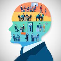 Conceito de Design de cabeça de negócios vetor