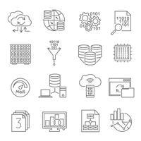 Conjunto de ícones de linha de análise de banco de dados