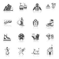 Conjunto de ícones de resort de esqui preto
