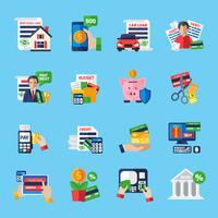 Conjunto de ícones de cor plana de dívida de empréstimo