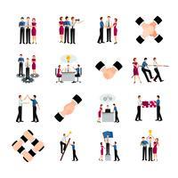 Conjunto de ícones de trabalho em equipe de cor lisa