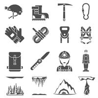 Conjunto de ícones de espeleologia preto vetor