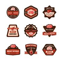 Conjunto de emblemas de carne vetor