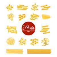 Conjunto de ícones realista de massas tradicionais italianas vetor