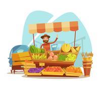Conceito dos desenhos animados do mercado