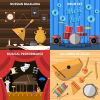 Conjunto de ícones de conceito de instrumentos musicais vetor