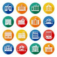 Ícones lisos de edifícios do governo