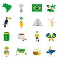 Conjunto de ícones plana de símbolos de cultura brasileira