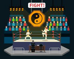 Ilustração de luta de artes marciais
