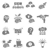Conjunto de ícones plana de Brainstorm