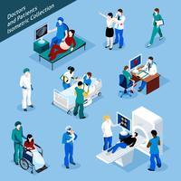 Conjunto de ícones de pessoas isométricas de médico e paciente vetor