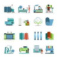 Conjunto de ícones plana de moinho têxtil vetor