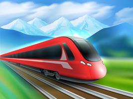Poster realista de fundo de trem de velocidade de montanhas vetor