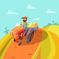 Fundo de desenhos animados de fazendeiro