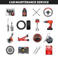 Conjunto de ícones de plano de serviço de manutenção de carro vetor