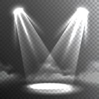 Dois feixes de luzes brancas encontram o banner