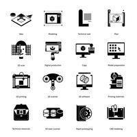 Conjunto de ícones de prototipagem e modelagem vetor
