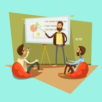 Ilustração dos desenhos animados de Coworking