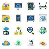 Ícones de cores planas de serviço de nuvem