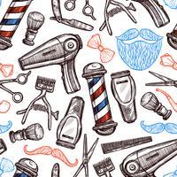 Barber Shop Attributes Doodle padrão sem emenda