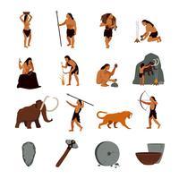Ícones de homem das cavernas pré-históricas da idade da pedra vetor