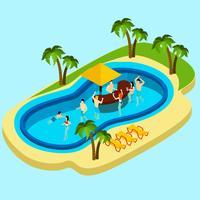 Parque aquático e ilustração de amigos